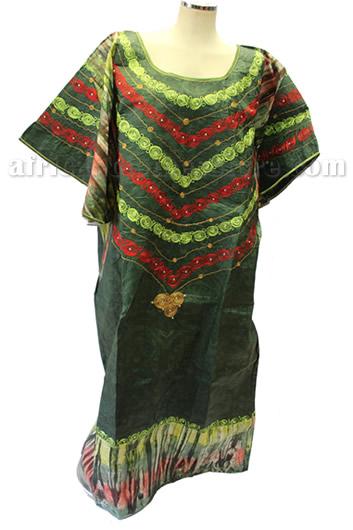 taifabricsafricanwomenclothesgreentiedieembroidery